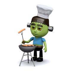 3d Frankenstein cooks some franks on the bbq
