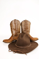 Cowboy Boots & Hat - studio on white