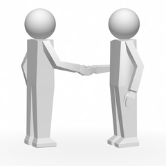 3d people with handshake