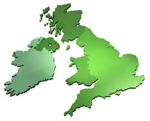 3D map of Great Britain and Ireland on white background