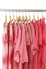 Red shirt on hangers