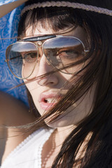 Portrait of atractive young women with stylish sunglasses