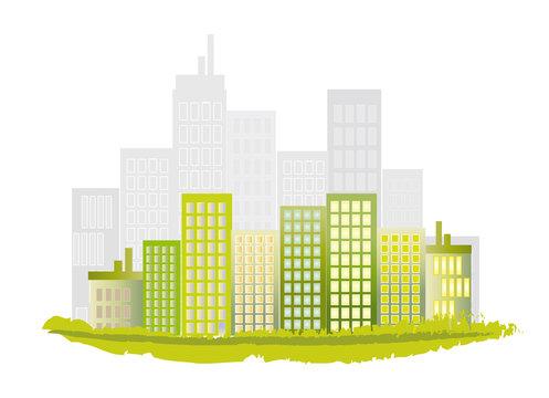 barre immeubles verts
