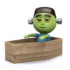 3d Frankenstein plays in a coffin