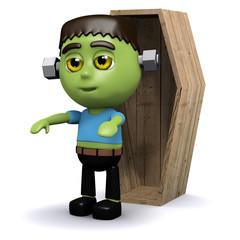 3d Frankenstein in front of a coffin