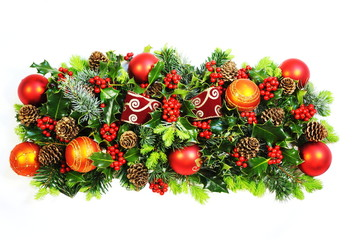 Christmas Holly, Bow and Baubles