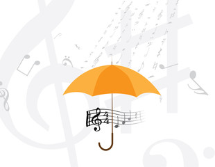 abstract rain of music notes and symbols