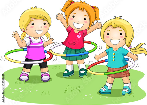 Children playing hula hoops in the park stock image and for Actividades recreativas en el salon de clases