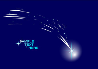 Abstract comet with stars. Vector illustration.