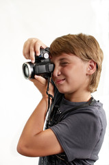 Young Boy Taking Photo Camera .