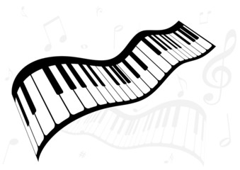 Illustration of a piano and music notes