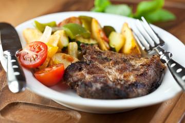 Grilled pork with roasted vegetables