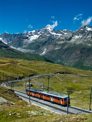Wall Mural - Gornergrat train in Switzerland Alps