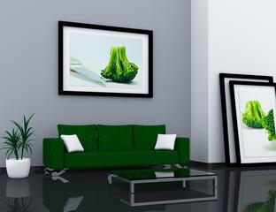Wohnung Rendering grün