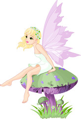 Aluminium Prints Magic world Fairy on the Mushroom
