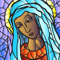 Virgin Mary in stained glass.