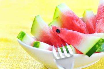 fresh sliced watermelon served