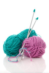 Blue and pink  knitting wool