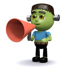 3d Frankenstein yells through megaphone