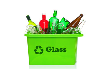 Green glass recycling bin isolated on white