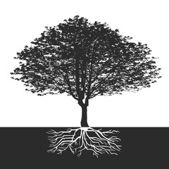 abstract tree with flowers and space for a text