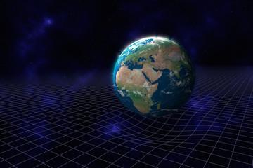 Kruemmung der Raumzeit durch die Masse des Planeten Erde