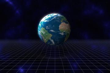 Kruemmung der Raumzeit durch die Masse des Planeten Erde, illust