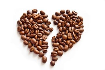 Broken heart of coffee beans