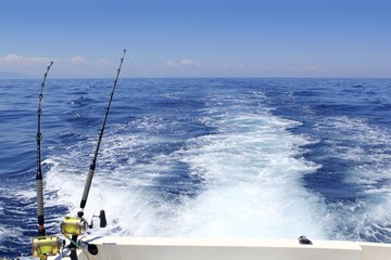 blue sea fishing sunny day trolling rod reels wake