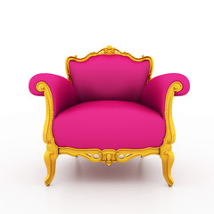 Classic glossy pink armchair with golden details