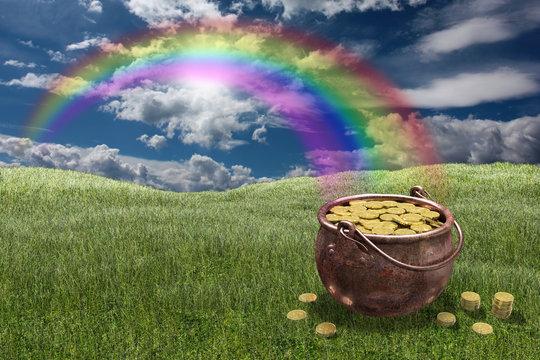 Pentola piena di monete d'oro