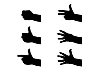 Silhouette hands and fingers - illustration