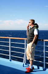 Man in cruise on vacation in Corsica, France