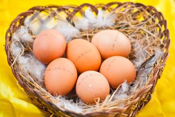 куриные яйца в корзиночке