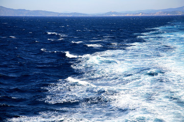 Waves in the sea in Corsica, France