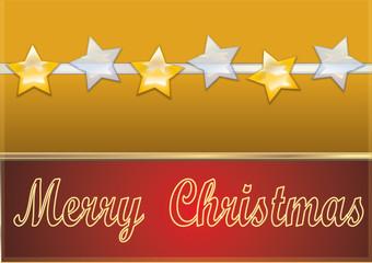 gold Weihnachtskarte mit Sternen