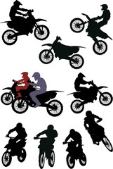 set of racer silhouettes