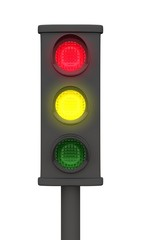 Rot Gelb 3D Ampel - Freigestellt Schwarz