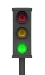 Grüne 3D Ampel - Freigestellt Schwarz