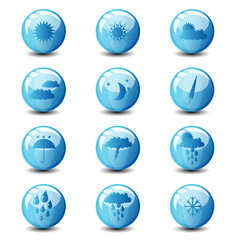 weather blue glossy icon set