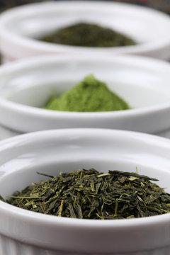 Tea collection - bancha and sencha green tea and matcha powder