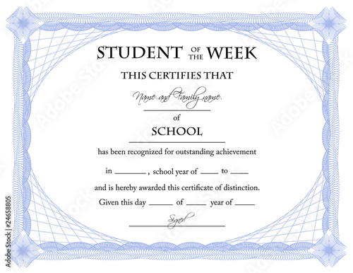 Student of the Week Certificate\
