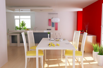 3d render modern dining room