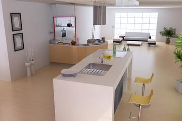 3d render modern home interior