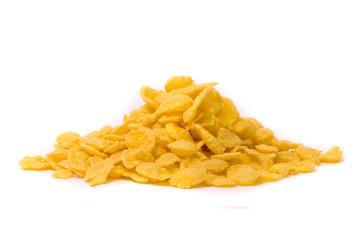 Crispy corn flakes on a white background