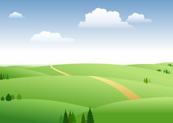 草原和蓝天白云