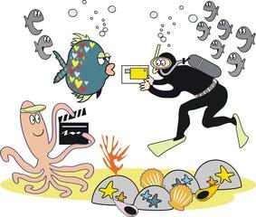 Underwater video photography cartoon