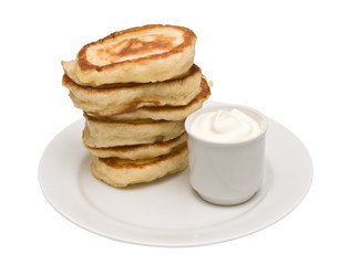 Fritters with sour cream