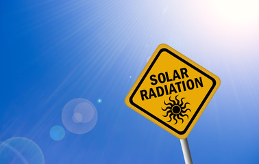 Solar radiation warning sign