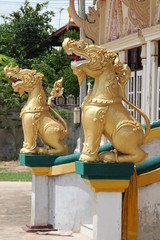 lion statue, Wat Ban Lan, Ban phai, Khon Khan